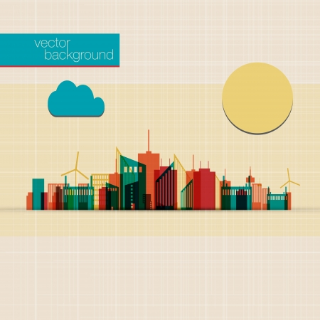 Abstract Colorful panorama city background  Vector
