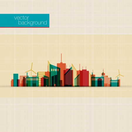 abstract city: Abstract Colorful panorama city background   Illustration