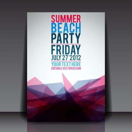 fiesta en la playa: Resumen del Partido verano Flyer plantilla Vectores