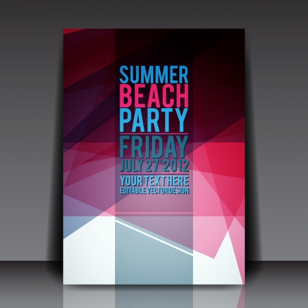 Abstract Summer Party Flyer Template Vector