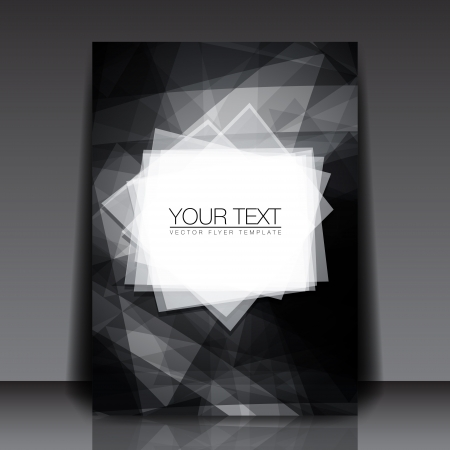 black: Black and White Abstract Shapes Flyer Template - Vector Design Concept