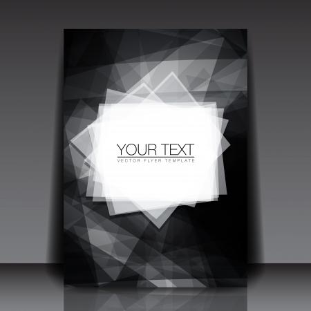 siyah: Siyah Beyaz Soyut Shapes Flyer Template - Vektör Tasarım Konsepti