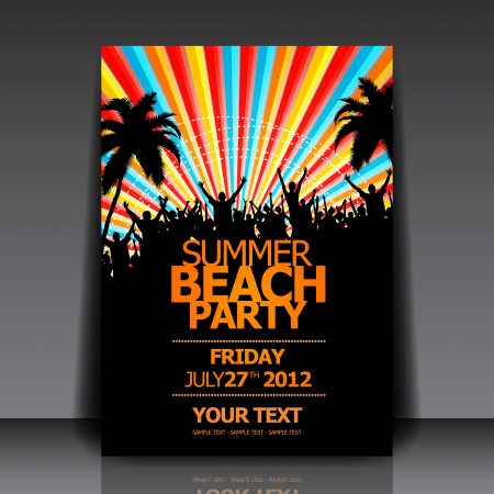 Summer Beach Party   Flyer Template   Stock Vector - 14429167