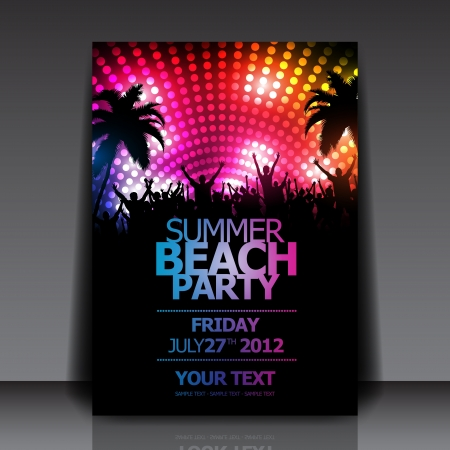 Summer Beach Party   Flyer Template   Vector