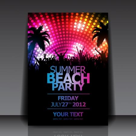 fiestas discoteca: Summer Beach Party Plantilla del aviador Vectores