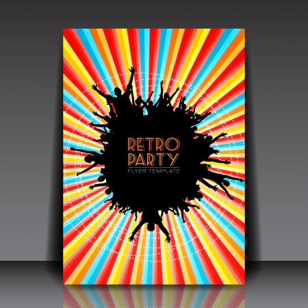 Retro Party   Flyer Template   Vector