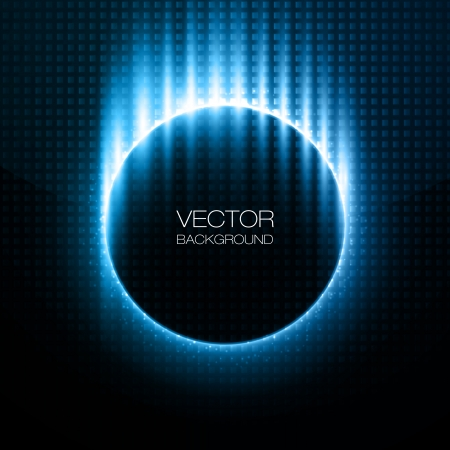 orbit: Shiny circles with blue rays behind dark design Illustration
