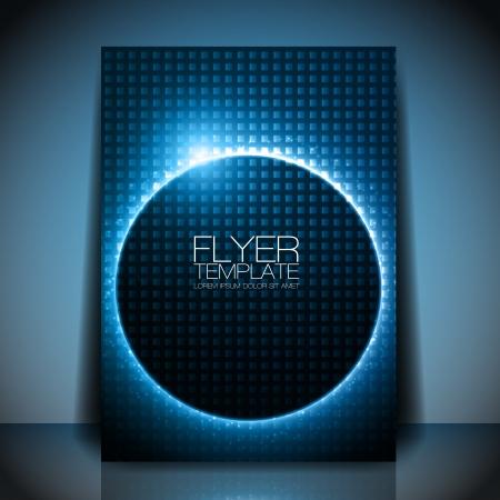 チラシ: 抽象的なフライヤー テンプレート - 暗いデザインの背後にある青い光沢のある円