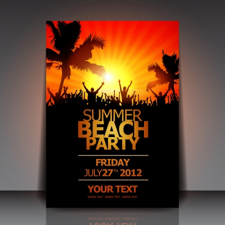 party background: Summer Beach Party Flyer