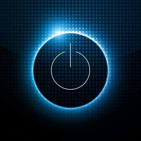 시작: 추상적 인 배경 - 어두운 디자인 뒤에 전원 버튼