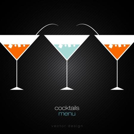 copa de martini: C�cteles la tarjeta del men� de dise�o de plantilla