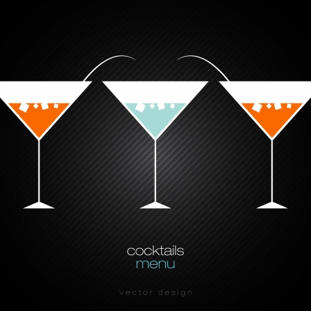 martini: Cocktails Menu Card Design Template Illustration
