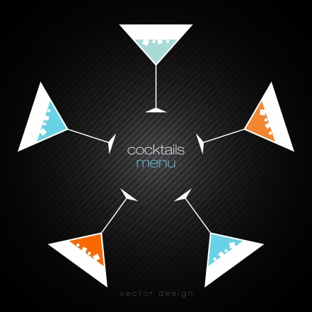 cocktail straw: Cocktails Menu Card Design Template Illustration