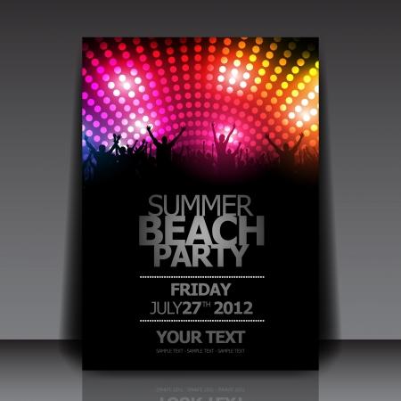 fiestas discoteca: Summer Beach Party Flyer plantilla - Vector Dise�o