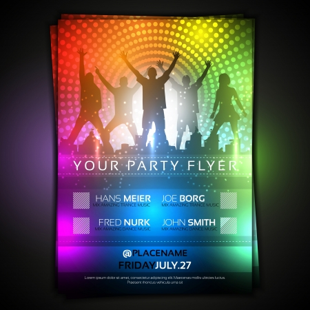 sexy woman disco: Colorful Party Flyer Template