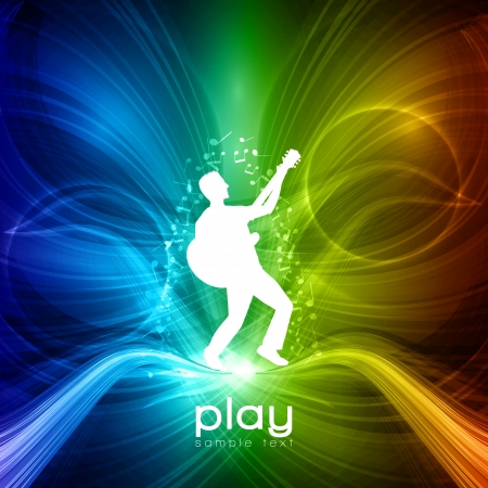 concert lights:  Party People  Background - Young Men Plays on Guitar Illustration