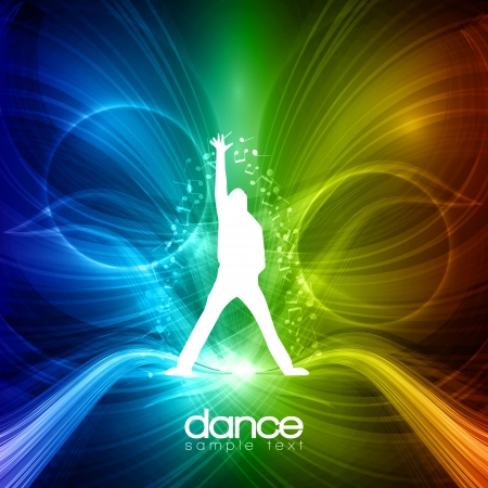 abstract dance: party People Background - Dancing Young Men Illustration