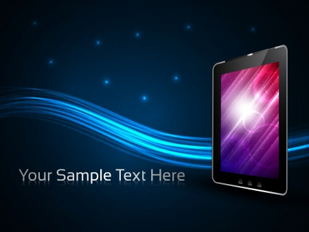 hologram: Vector 3d touch tablet model on a blue detailed background