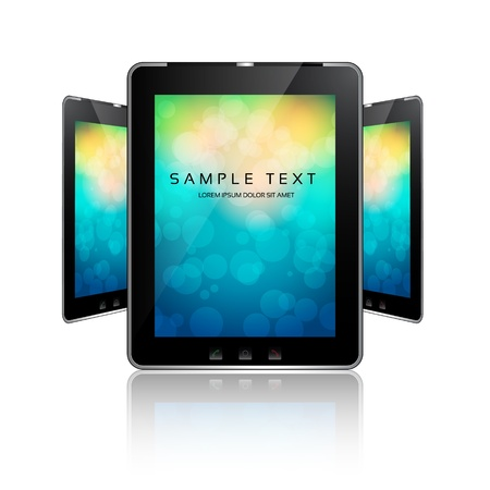 surfing the net:  black tablet pads with a white screen on colorful bokeh and a reflection on a white background  Illustration