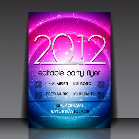 party club: Editable Flyer with Colorful Circle Design