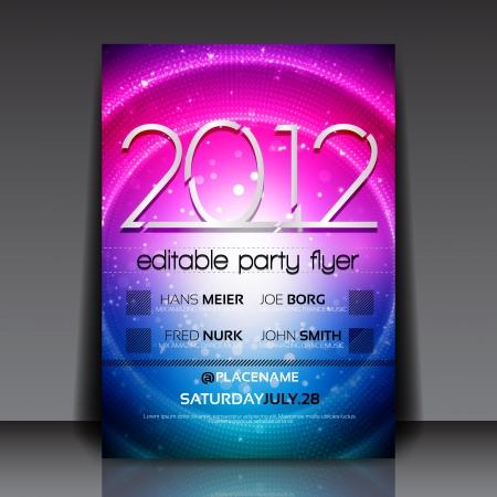 fiesta dj: Flyer editable con el dise�o del c�rculo de colores
