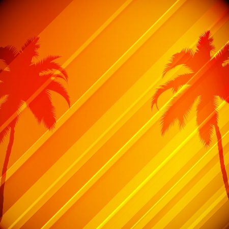 Tropical Background with Palm Trees   Vector