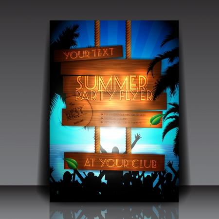 Gente del partido en la playa en verano - Party Flyer Totalmente Editable Ilustración de vector