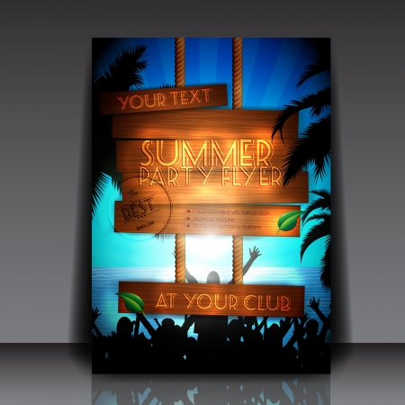 Party people on the beach in summer - Fully Editable Party Flyer   Vector