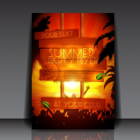 Party people on the beach in summer - Fully Editable Party Flyer  Illustration
