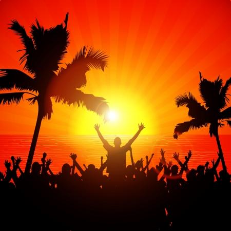 Partij van mensen op het strand in de zomer
