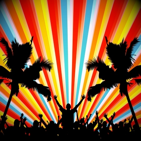 Retro Party People Vector Background