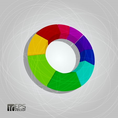 3D pie chart on grey background Vector