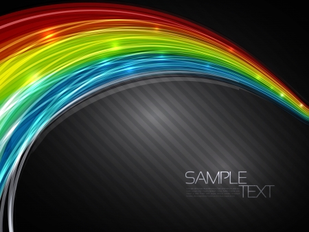 Abstract background with 3D rainbow lines   illustration Vector