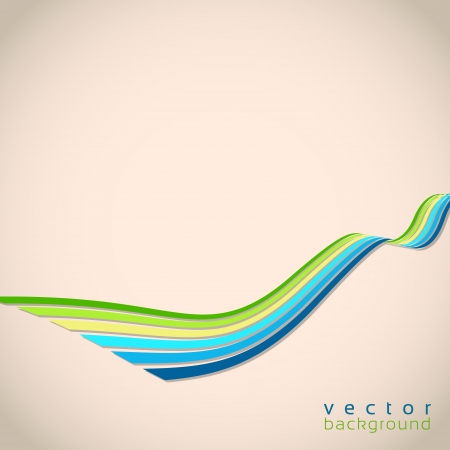 curve road: 3D vector wave lines in retro style