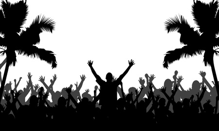 Party People with Palm Trees Silhouettes - Fully editable EPS 10 Vector Format Stock Vector - 14426659