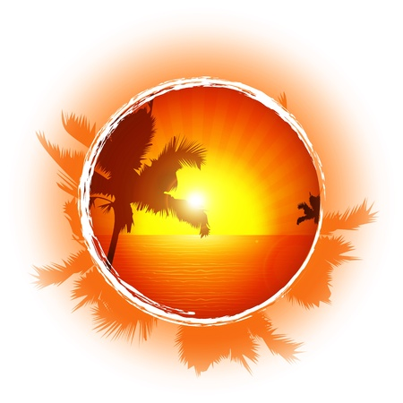 Tropical frame, sunset on the beach  Vector