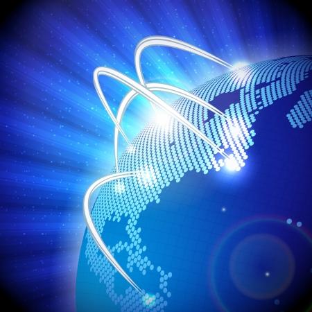 satellite navigation: Ilustraci�n del globo terr�queo moderno, con l�neas de comunicaci�n