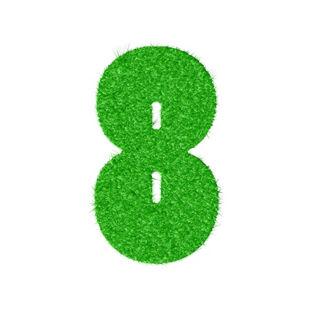 3D number 8 - from my natural green grass number collection -   illustration Vector