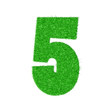 3D number 5 - from my natural green grass number collection -   illustration Vector