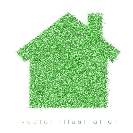 chilly: green house on white background