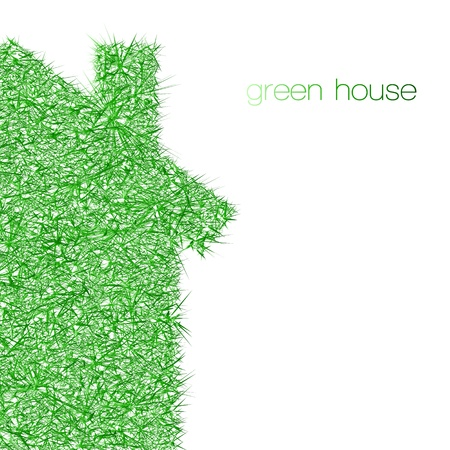 values: green house on white background