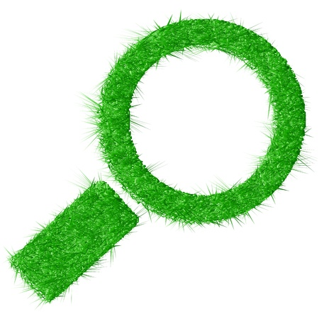 magnification: Vector illustration of magnifying glass made from grass isolated on white background