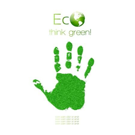 Huella de la mano verde de hierbas Piensa Verde Ilustración Concepto de Ecología