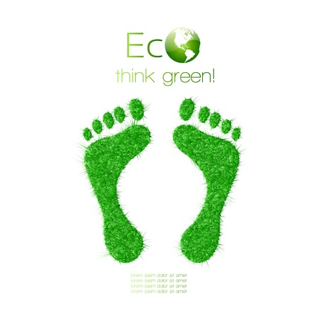 Green footprint made from grass Think Green Ecology Concept Vector Illustration