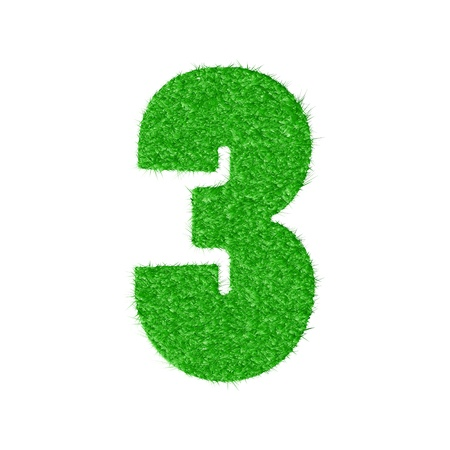 3D number 3 - from my natural green grass number collection   Vector