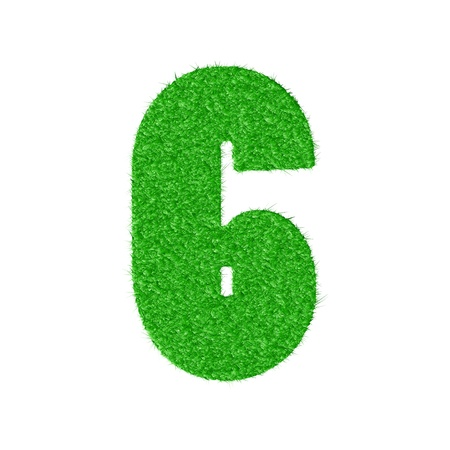 3D number 6 - from my natural green grass number collection -  illustration Vector