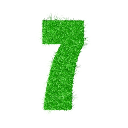 3D number 7 - from my natural green grass number collection -  illustration Vector