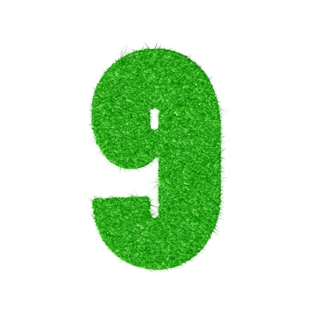 3D number 9 - from my natural green grass number collection - illustration Vector