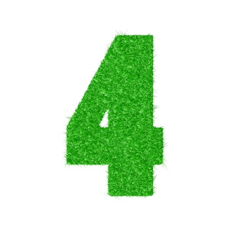 3D number 4 - from my natural green grass number collection   Vector