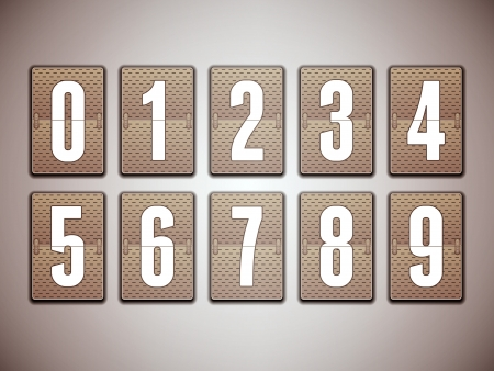Numbers on mechanical scoreboard  Vector